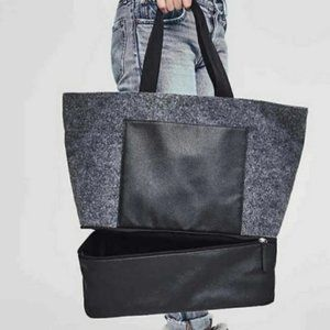 NWOT DSW Grey Felt Weekend Tote w Shoe Compartment